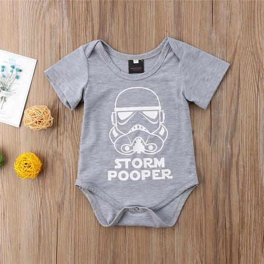 Toddler Baby Girls Boys Storm Pooper Romper Jumpsuit Short Sleeve Sunsuit 0-18M