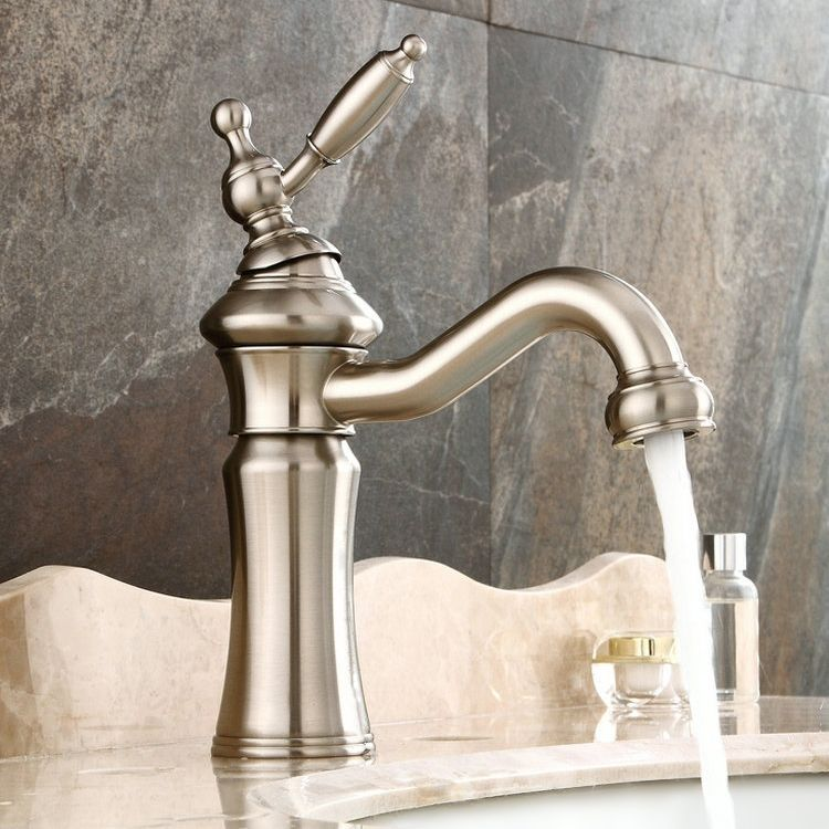 Photo of Vintage Deck Mounted Single Lever Single Hole Solid Brass Sink Faucet i …