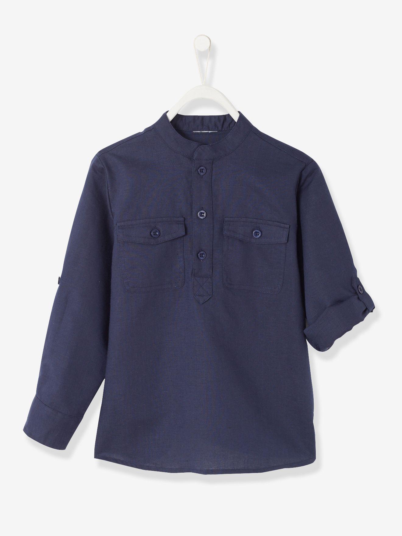 04eef8574 Camisa cuello mao niño azul marino - Vertbaudet