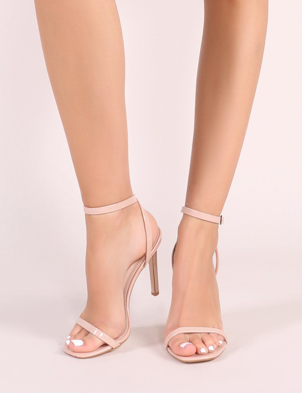 2b13e532f59 Notion Squared Toe Barely There Heels in Nude Patent in 2019 | Shoes ...