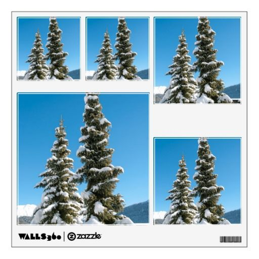 #Pine #trees under the #Snow #Wall #Stickers