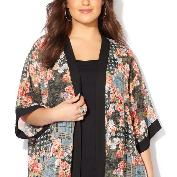 Floral Patchwork Sheer Kimono Cardigan-Plus Size Cardigan-Avenue ...