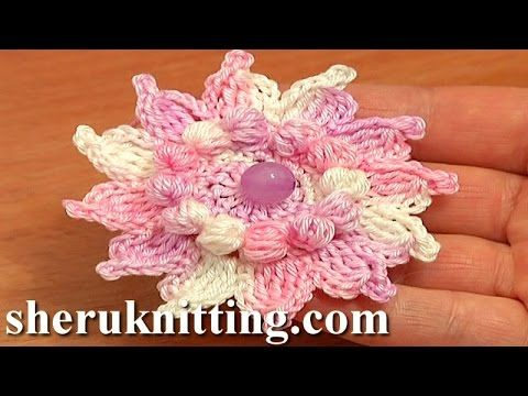 How to Crochet Flowers Free Patterns Tutorial 73 Crochet 12-Petal ...