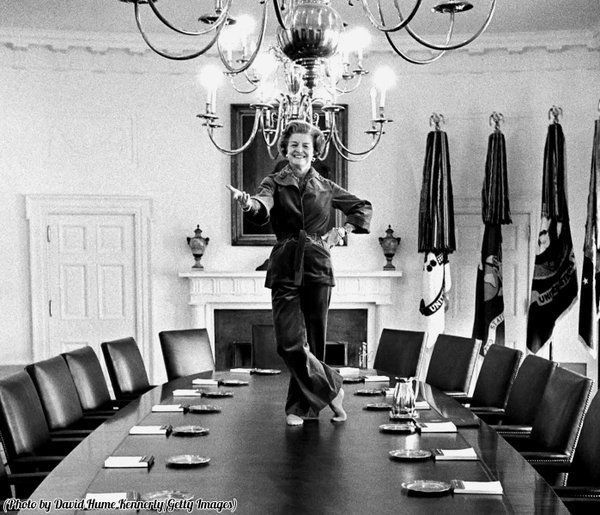 Betty Ford dancing on the Cabinet Room table in the White House on her last day as First Lady 1977. [600 X 515]
