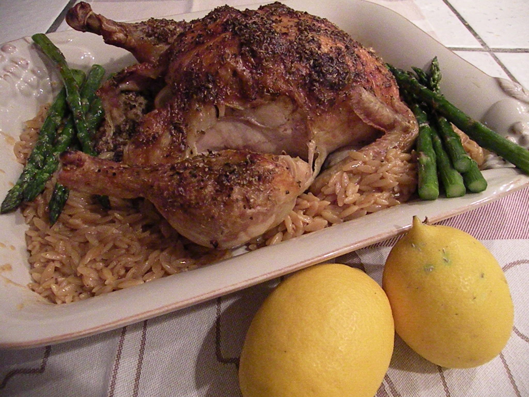 Roasted Greek Lemon Chicken with Orzo