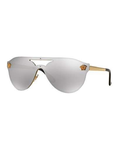 8d8cccbf01 Versace Mirrored Shield Brow-Bar Sunglasses