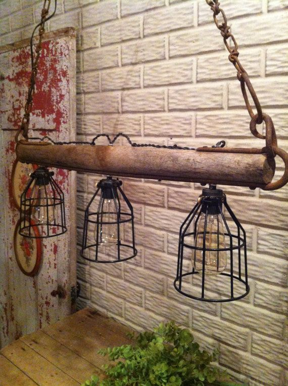 Hanging light / lamp rustic singletree by FrontPorchBlues on Etsy, $299.00