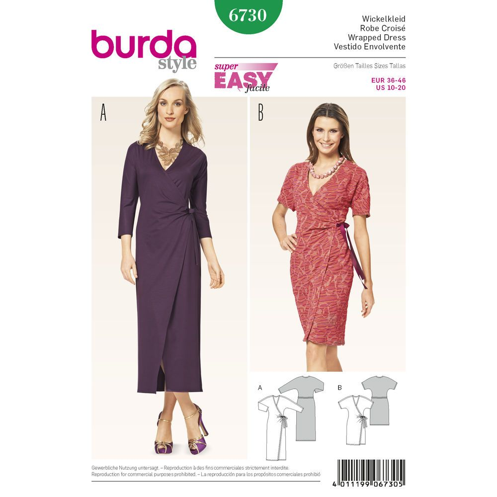 Pattern for Misses\' Wrap Dress with Kimono Sleeves | Simplicity ...