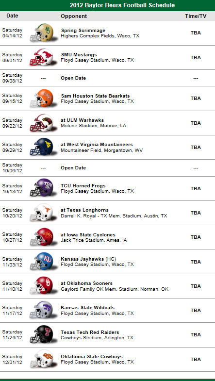 Baylor Bears 2012 Football Schedule Baylor, Baylor
