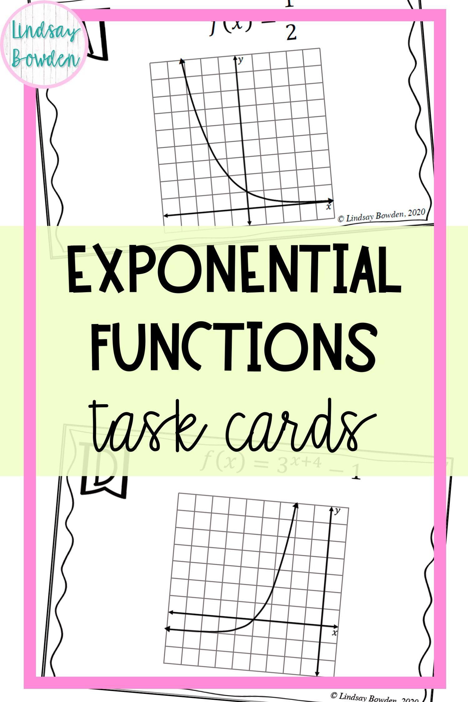 Exponential Functions Task Cards In 2020 Task Cards Algebra Activities High School High School Algebra
