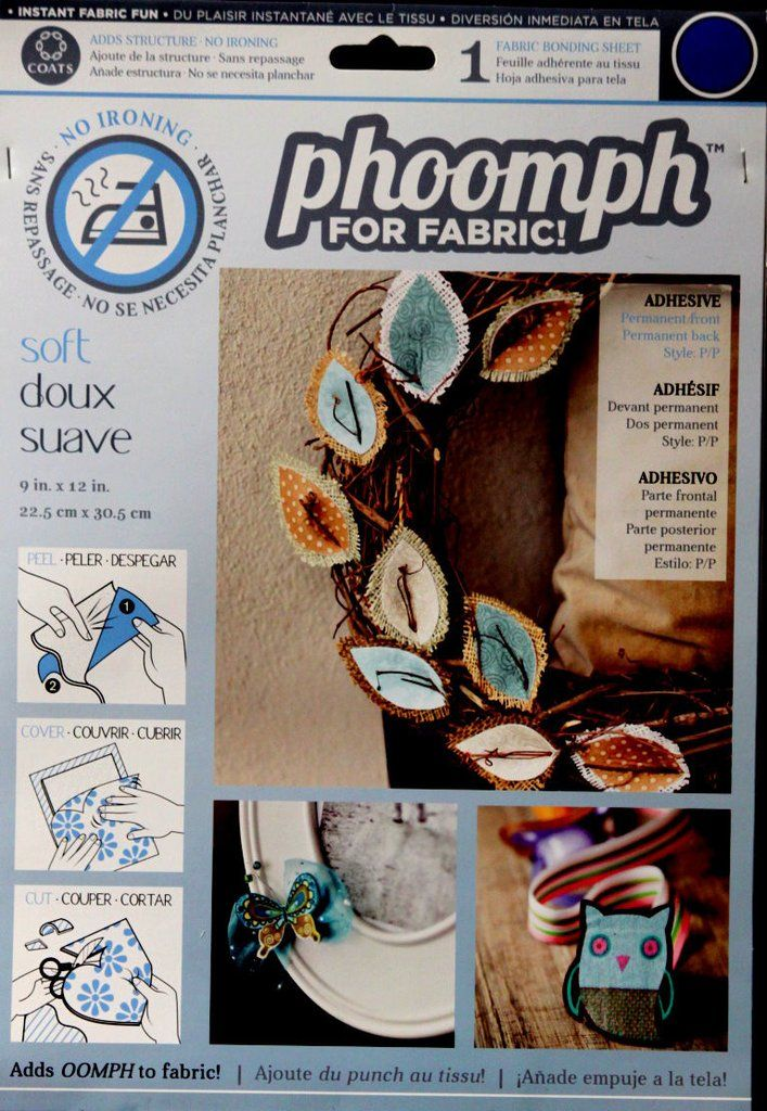 Coats And Clark Phoomph For Fabric Stiffner Blue Bonding Sheet is available at Scrapbookfare.