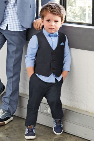 ef82c8ec76d5 Buy Navy Waistcoat, Shirt And Bow Tie Set (3mths-6yrs) online today at Next:  Australia