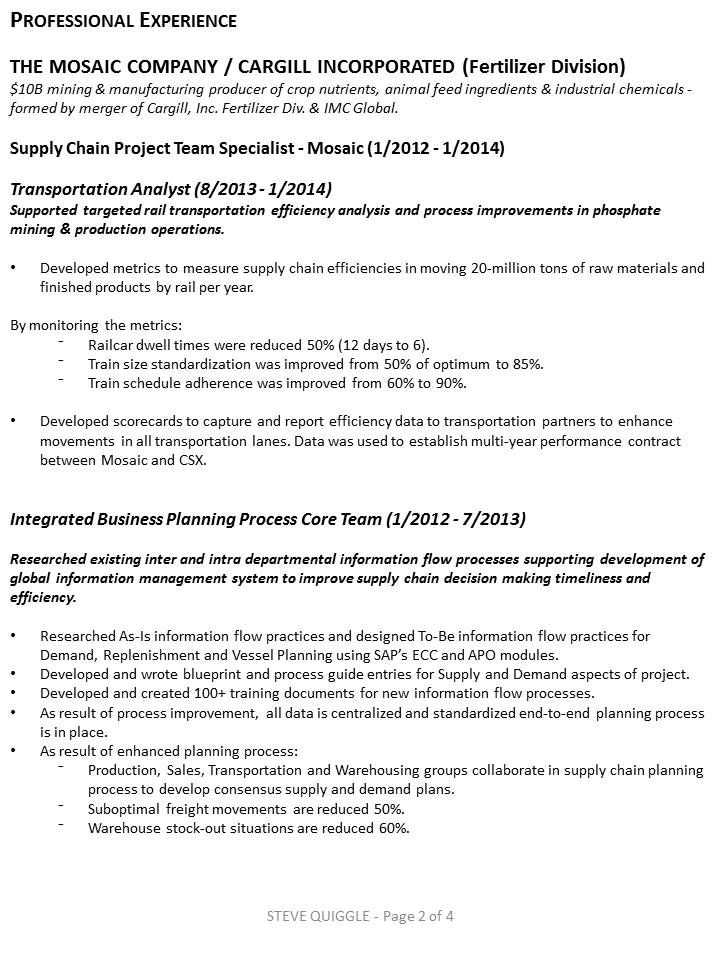 Page 2 of 4 My Resume Pinterest - transportation analyst sample resume