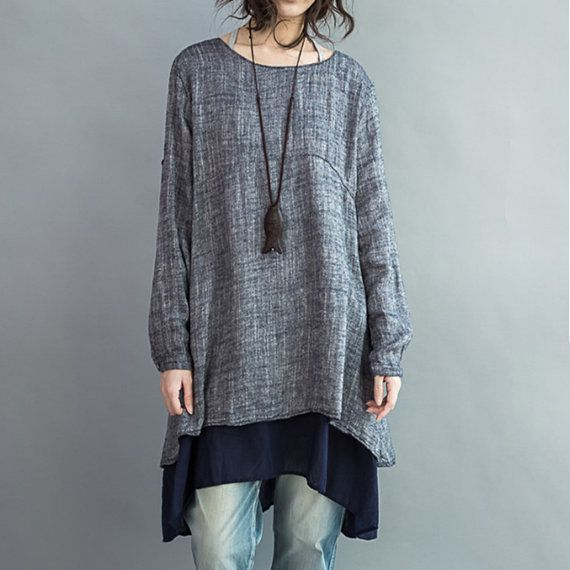 * Material: cotton&linen *Detial: Round collar Set head irregular The button Joining together *color: same as picture * Season: spring autumn