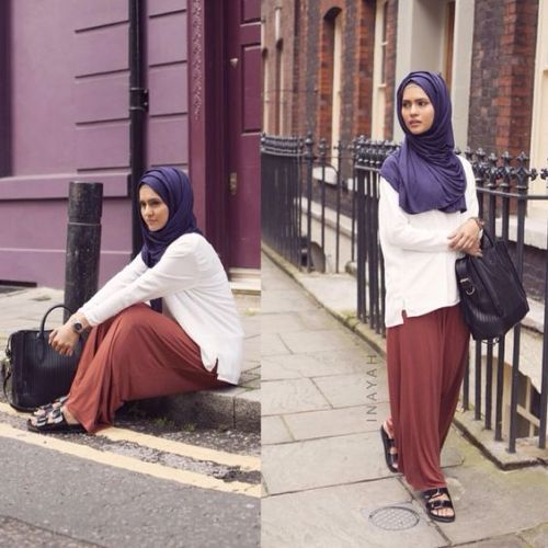 Maroon pants with white blouse-Chic hijab outfits from instagram http//www.justtrendygirls.com ...