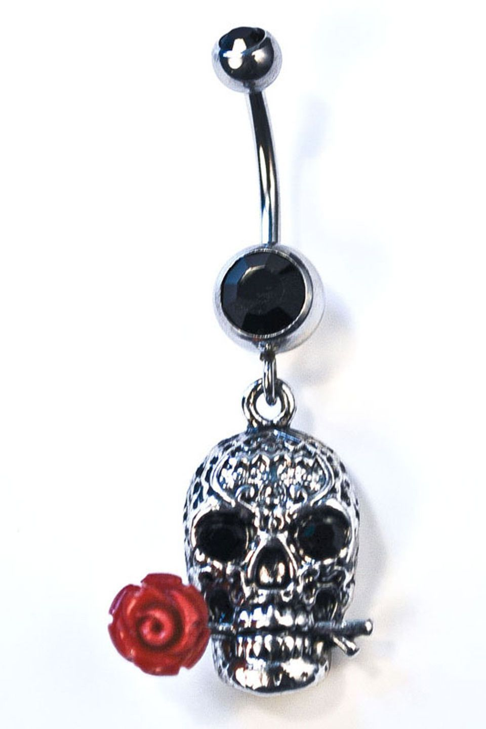 Black around belly piercing  Piercing King Belly Ring With Dangly Skull with Rose in Black