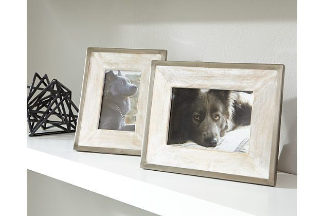 Tan & Silver Finish Kadija Photo Frame (Set of 2) by Ashley Furniture