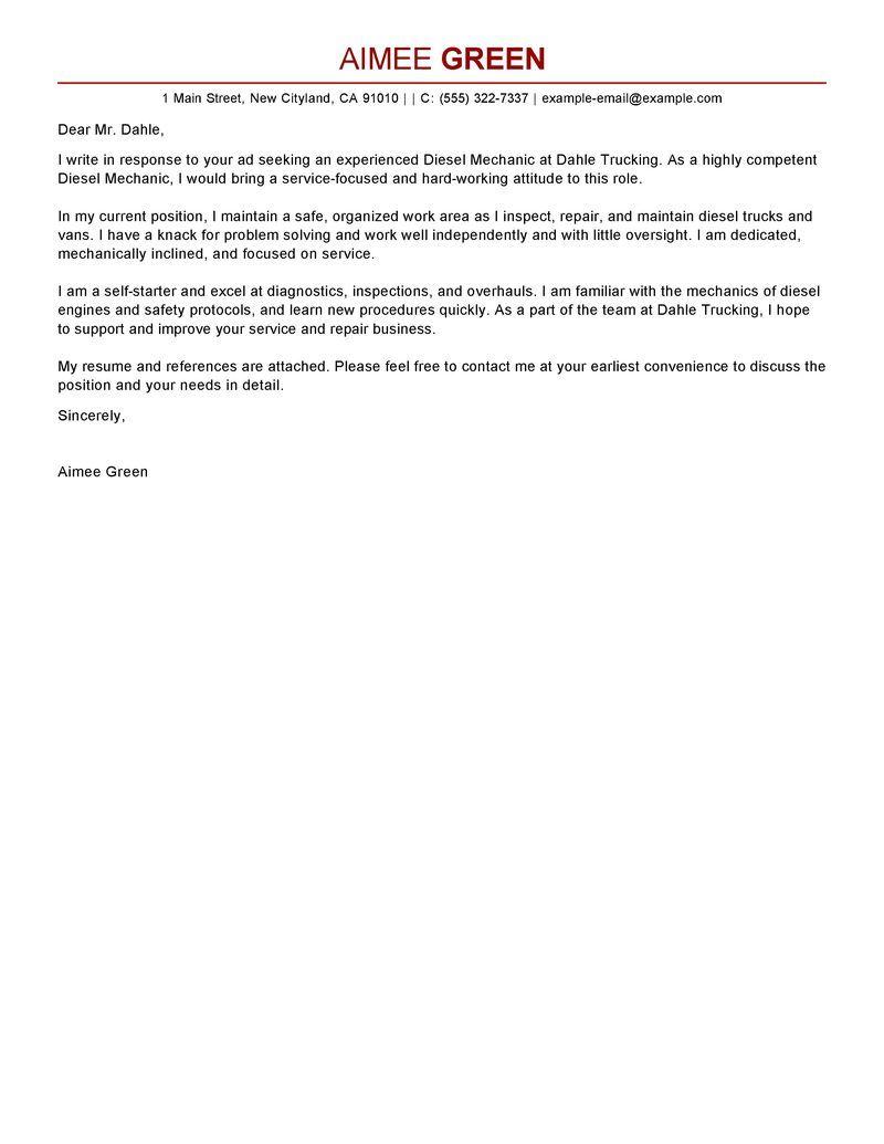 Diesel mechanic cover letter sample cover letter for