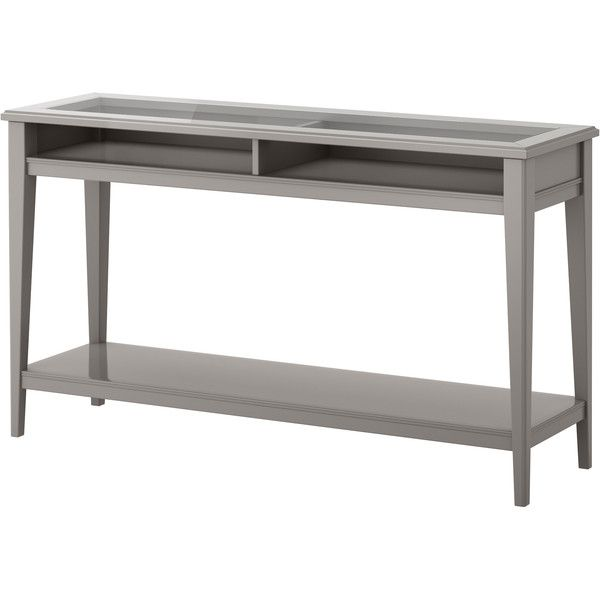 LIATORP Console table Grey/glass ($180) ❤ liked on Polyvore featuring home, furniture, tables, accent tables, console table, sivupöydät ja lipastot, grey console table, grey furniture, glass table and glass accent table