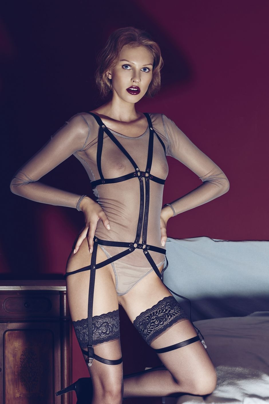black strappy harness lingerie