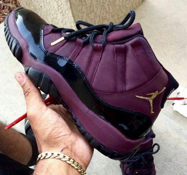 shoes jordans burgundy black gold jordan's maroon gold black