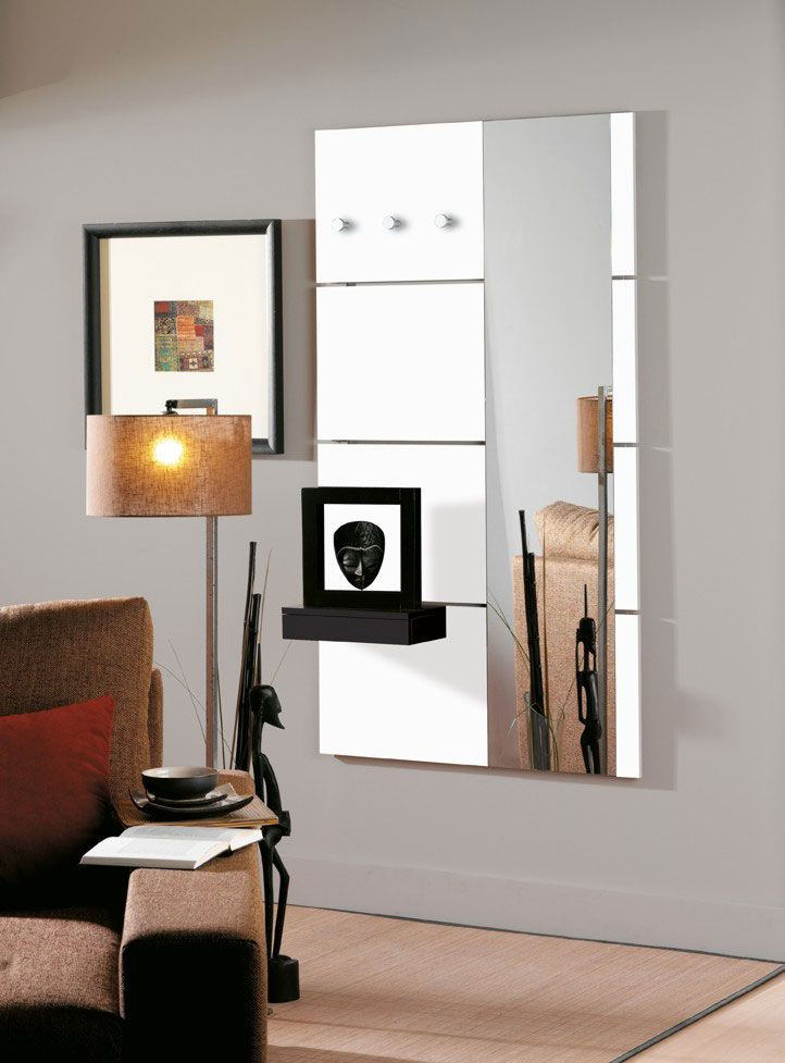 porte manteau mural design laqu blanc brillant laly avec miroir patere design mirror et. Black Bedroom Furniture Sets. Home Design Ideas