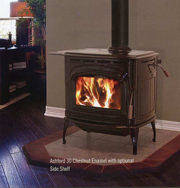 Ashford 30 Blaze King In Chestnut Enamel With Optional Side Shelf