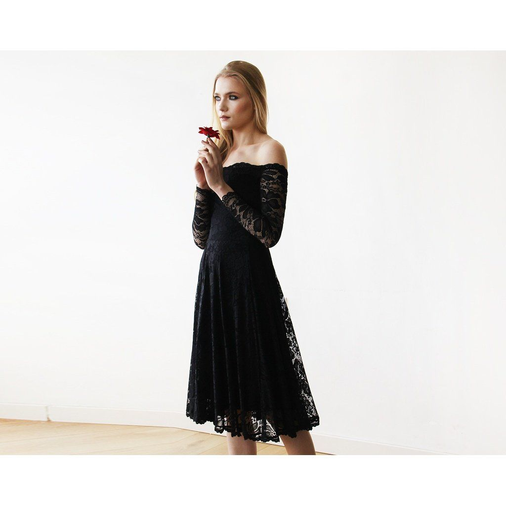 Black offtheshoulder floral lace long sleeve midi dress