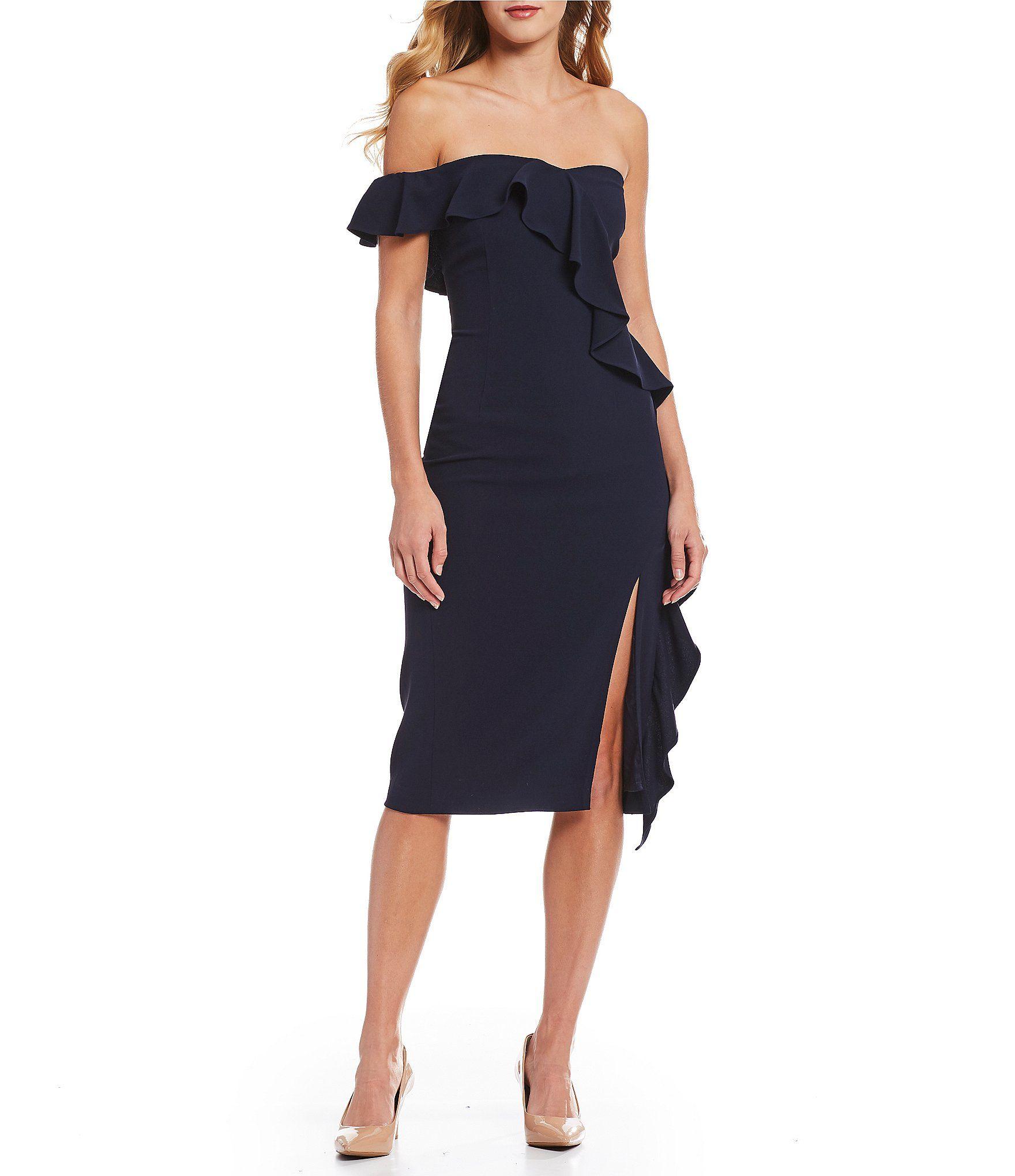 ccd0e5eb91d Gianni Bini Tye One Shoulder Cascading Ruffle Slit Front Midi Dress ...