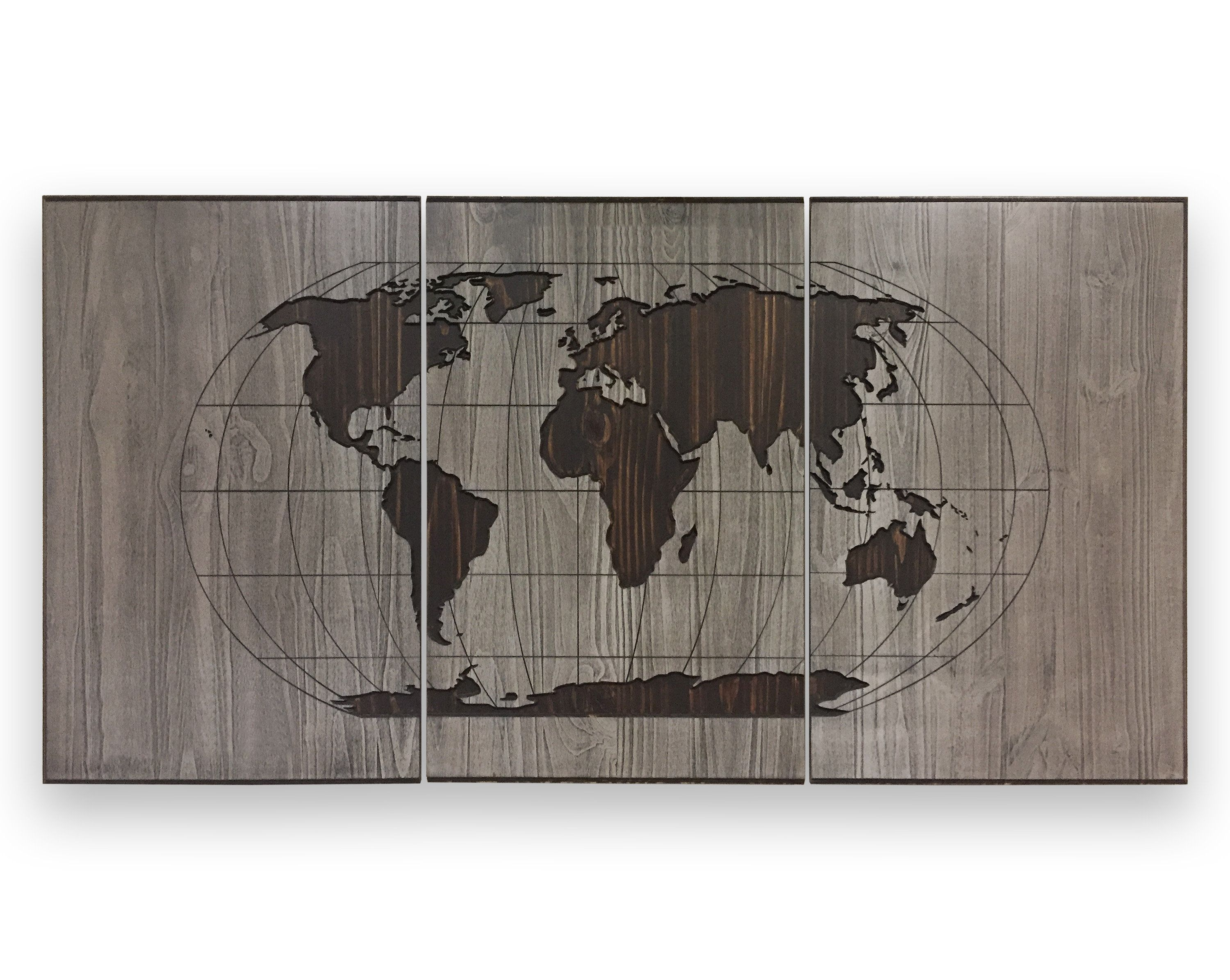 Large world map art grid map globe map with continents latitude large world map art grid map globe map with continents latitude longitude lines push pin map wood wall art print canvas poster gumiabroncs Choice Image