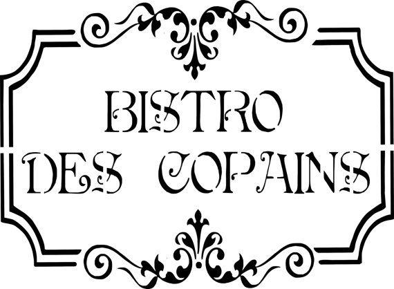 pochoir french touch stencil bistro des copains d co cuisine r tro campagne labels. Black Bedroom Furniture Sets. Home Design Ideas