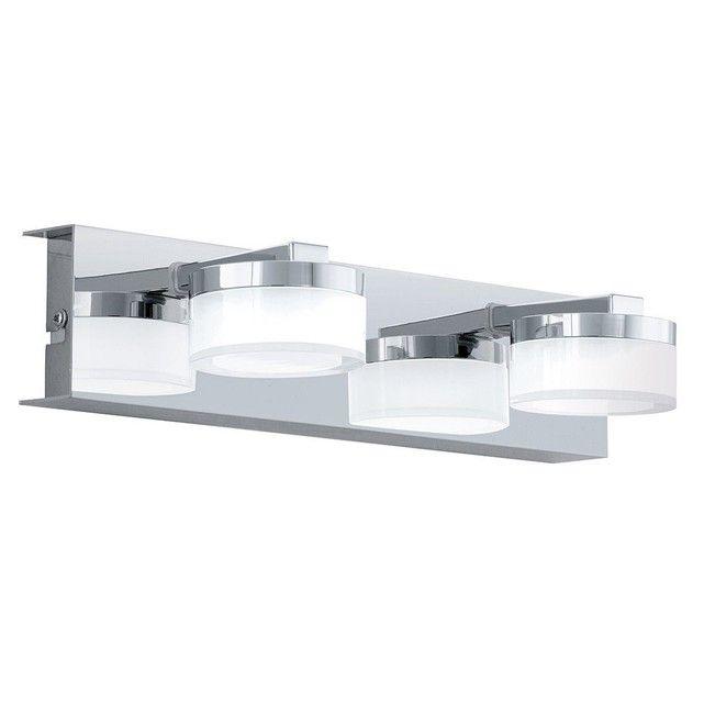 Applique murale salle de bain 2 spots Led ROMENDO argentée en métal