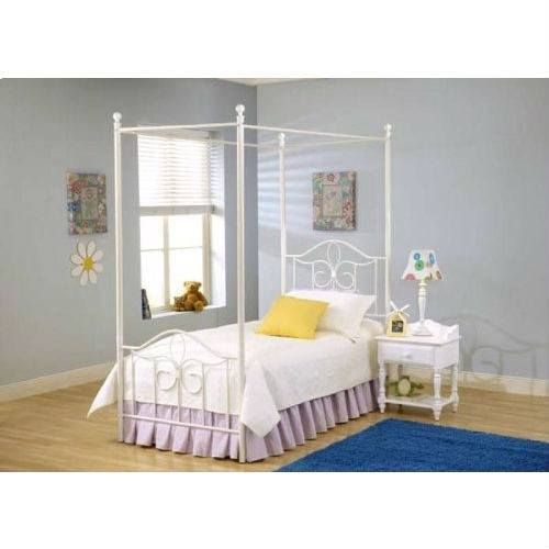 size Metal Canopy Bed in Off White - Great for Kids