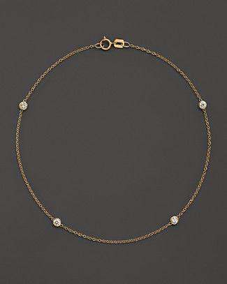 Diamond Bezel Ankle Bracelet In 14k Yellow Gold 20 Ct