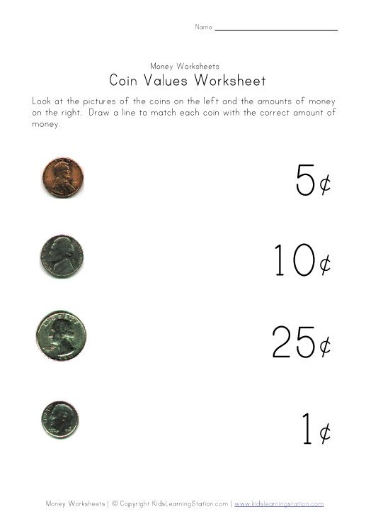 Matching coin to value assessment Classroom Math – Free Money Worksheets for Kindergarten