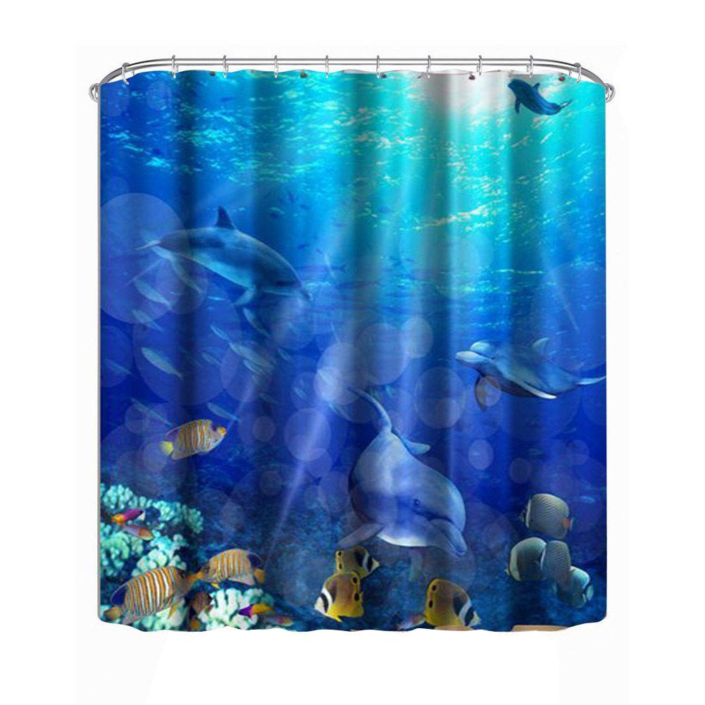 Dolphin Shower Curtain Marine Life Bathroom Decor Extra Long