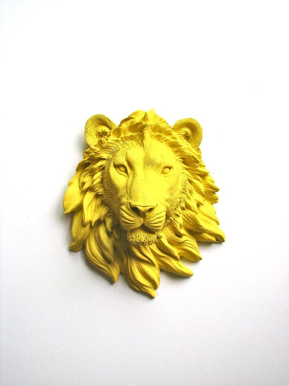 Faux Taxidermy Small Lion Head in YELLOW Wall Decor faux animal head ...