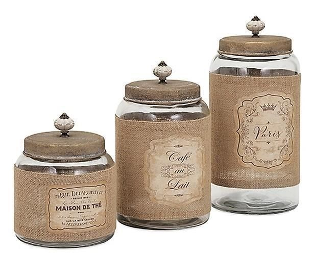 French Country Glass Jars And Lids Kitchen Canister Set Jute