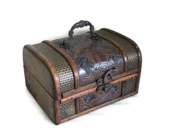 AHOY Wooden pirate TREASURE CHEST ornate metal latch handle