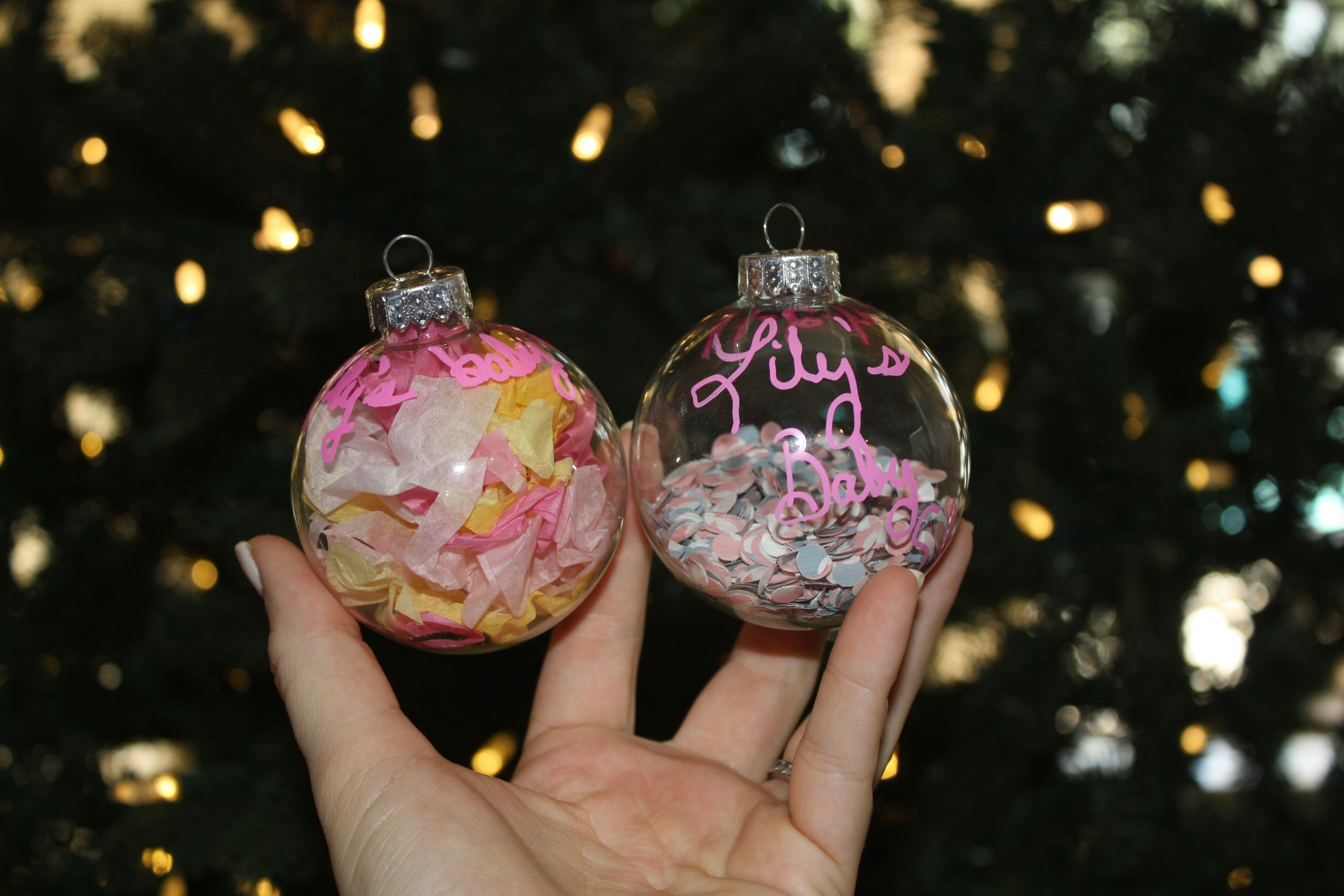 Homemade Christmas Ornaments My Mom Made For Me She Saved Ribbon Tissue Wrapp Clear Christmas Ornaments Baby First Christmas Ornament Baby Shower Keepsakes