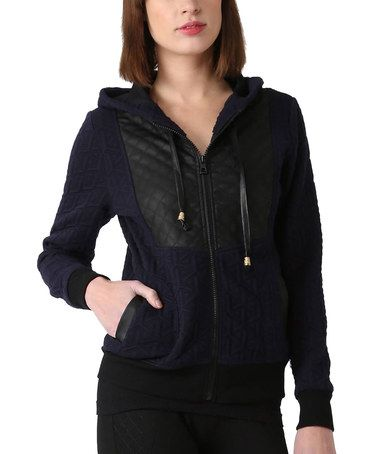 Love this Navy Blue Faux Leather-Panel Zip-Up Jacket on #zulily! #zulilyfinds