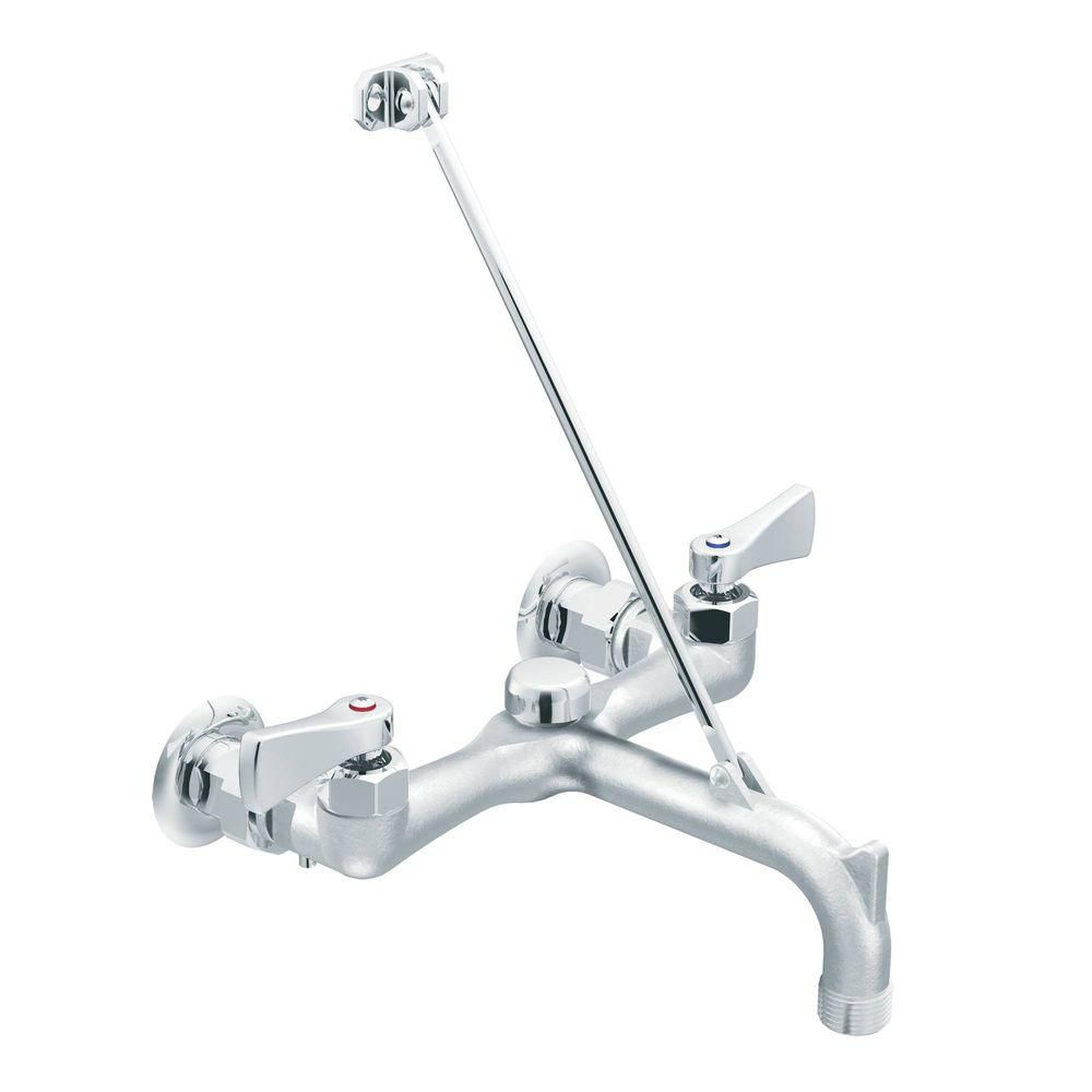 MOEN Commercial 2 Handle Wall Mount Service Faucet In Chrome (Grey)