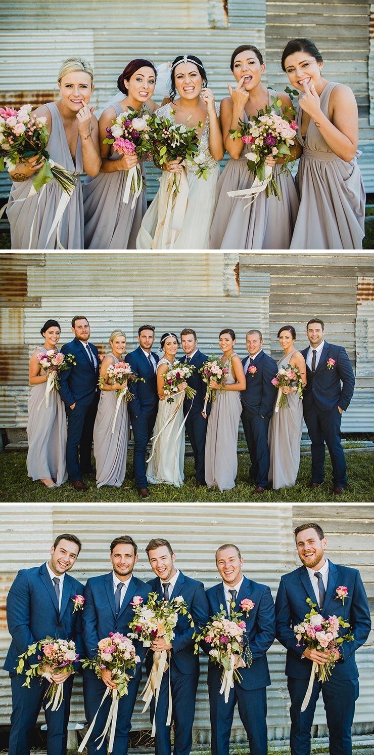 bdfef87bc31 Soft purple grey bridesmaid dresses and blue groomsmen suits