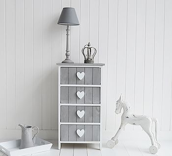 White And Grey Heart Cottage Drawers. A Range Of French Style Furniture And  Home Decor For Living Room, Bathroom , Bedroom And Hallway, All Available  To Buy ...