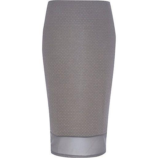 Grey mesh hem textured pencil skirt - tube / pencil skirts - skirts - women