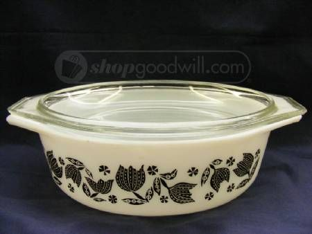 Where Are You Going Casserole Dishes Pyrex Black Tulips