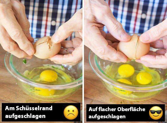 Beim Aufschlagen am Schüsselrand zersplittert die Eierschale in tausend kleine Teile? Schön glatt wird die Bruchstelle, wenn du das Ei auf einer glatten Oberfläche (z.B. einer Tischplatte) aufschlägst!