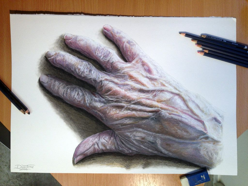 How to draw with colored pencils - Old Hand Color Pencil Drawing By Atomiccircus Deviantart Com On Deviantart