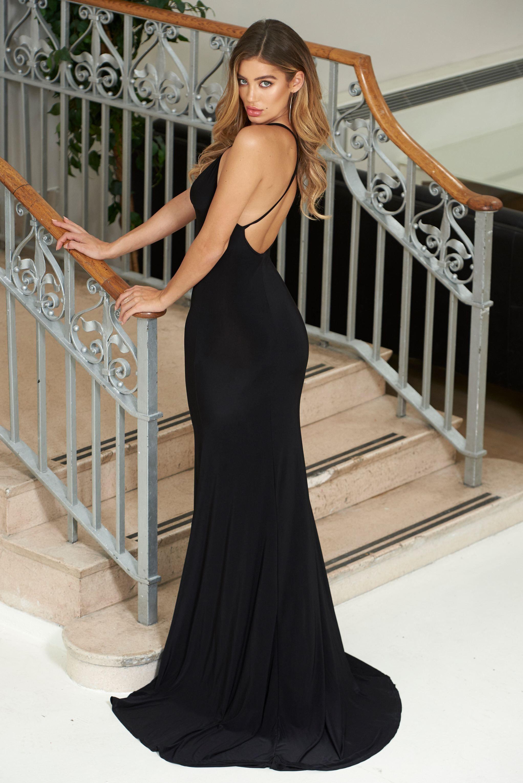 dc4b49798dbb Black Cross Back Fishtail Maxi Dress | Wishlist | Fishtail maxi ...