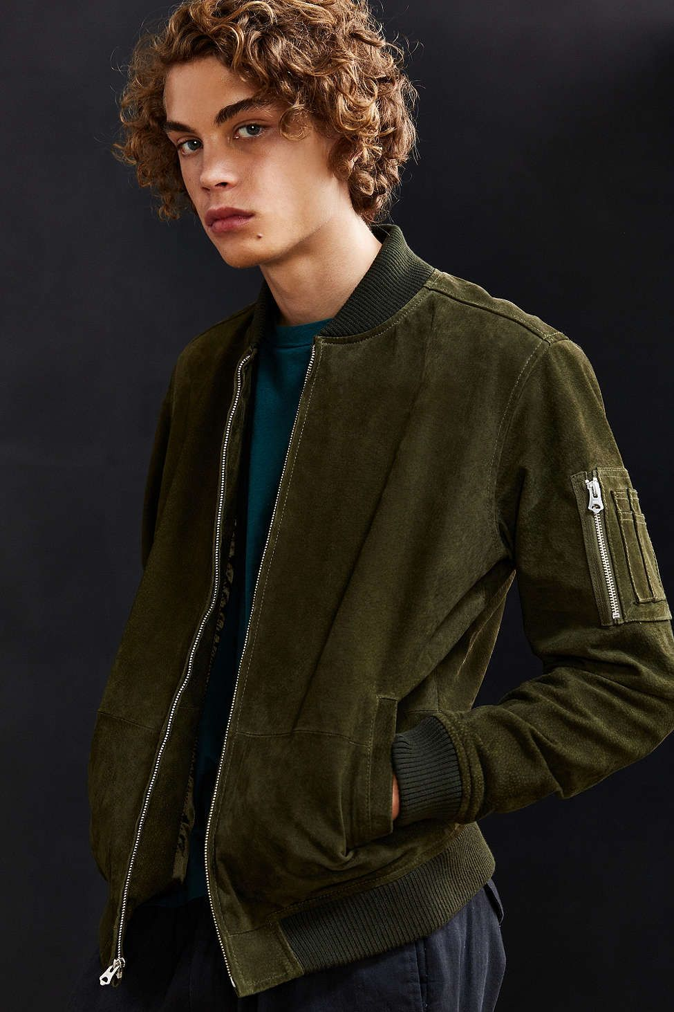 OBEY Pilot Suede Bomber Jacket - Urban Outfitters